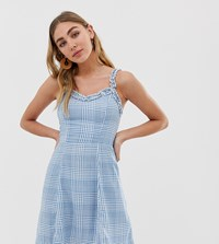 New Look Sundress With Ruffle Edge In Check Multi