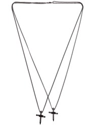 Dsquared Double Nail Cross Metal Necklace