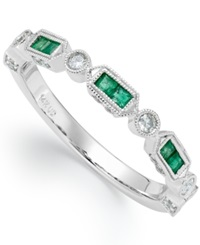 Macy's 14K White Gold Emerald 1 4 Ct. T.W. And Diamond 1 5 Ct. T.W. Alternating Ring Green