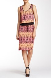 Kensie Printed Sleeveless Dress Pink