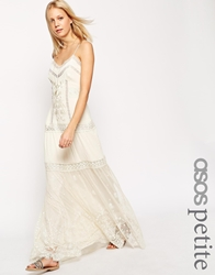 Asos Petite Premium Strappy Maxi Dress With Lace Inserts And Embroidery Cream
