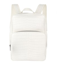 Bottega Veneta Crocodile Backpack White