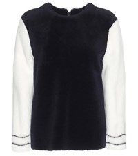 Ines And Marechal Adultere Dorena Shearling Jacket With Mink Sleeves Blue