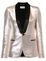 Saint Laurent Shawl Lapel Lustrous Blazer Metallic
