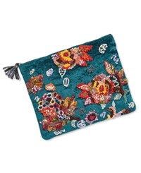 Steve Madden Ginger Medium Clutch With Floral Embroidery Blue