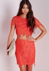 Missguided Scalloped Hem Lace Crop Top Orange