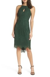 Harlyn Halter Neck Lace Body Con Dress Hunter Green
