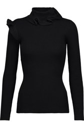 Raoul Ruffled Ribbed Cotton Blend Turtleneck Sweater Black