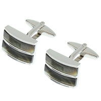 John Lewis Double Band Mother Of Pearl Cufflinks Mother Of Pearl Silver