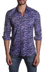 Jared Lang Long Sleeve Camo Print Semi Fitted Shirt Purple