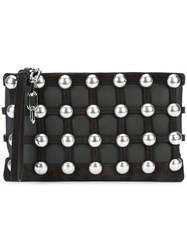 Alexander Wang Caged Pouch Clutch Bag Women Calf Leather Metal One Size Black