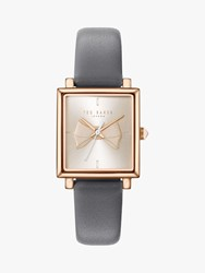 Ted Baker Te50516002 'S Isabella Bow Leather Strap Watch Grey White