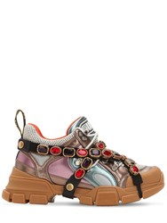 Gucci 60Mm Flashtrek Metallic Leather Sneakers Multicolor