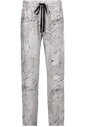 Enza Costa Printed Voile Tapered Pants Light Gray