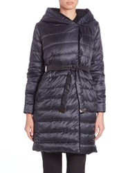 Max Mara Cube Collection Faux Fur Trim Quilted Jacket Midnight