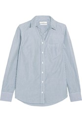 J.Crew Boy Striped Cotton Poplin Shirt Navy