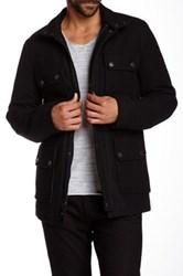 Ben Sherman Melton Wool Blend Military Coat Black