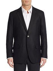 Saks Fifth Avenue Slim Fit Textured Wool Sport Coat Black