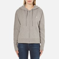Polo Ralph Lauren Women's Oversized Full Zip Hoody Soft Flannel Heather Grey