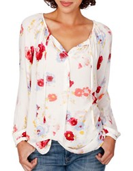 Lucky Brand Floral Long Sleeved Peasant Top Natural