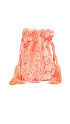 Alice Olivia Rope Neon Lace Crossbody Pouch Neon Peach