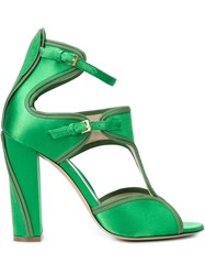 Monique Lhuillier Buckled Chunky High Heel Sandals Green