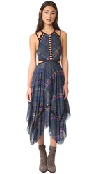 Free People Glassow Printed Dress Blue Combo