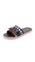 Mother Of Pearl Pool Slides Navy Check