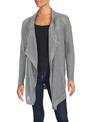 Vince Draped Metallic Cardigan Silver
