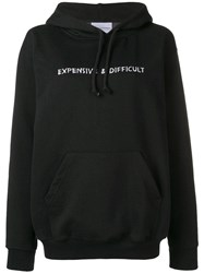 Nasaseasons Slogan Embroidered Hoodie Black