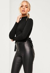 Missguided Petite Black Ribbed Crop Top