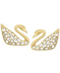 Swarovski Gold Tone Crystal Pave Swan Stud Earrings