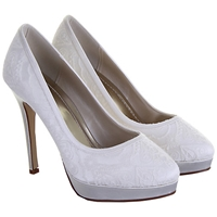 Rainbow Club Sydney Satin Lace Court Shoes Ivory