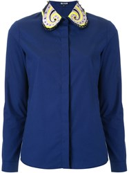 Holly Fulton Embellished Collar Shirt Blue