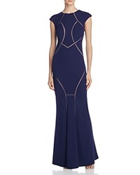 Dylan Gray Illusion Detail Gown Navy