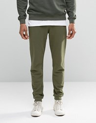 Asos Skinny Joggers With Zips In Khaki Burnt Olive Green
