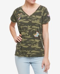 Sanctuary Cotton Embroidered Camouflage Print T Shirt Hertg Camo