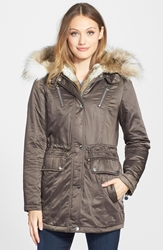 Laundry By Shelli Segal Removable Faux Fur Trim Parka Cadet Olive