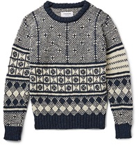 Thom Browne Jacquard Knit Wool And Mohair Blend Sweater Blue