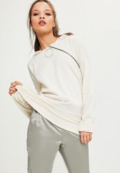 Missguided Cream Ring Pull Zipped Hoodie