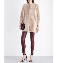 Karl Donoghue Collarless Reversible Shearling Coat Macchiato