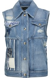 Just Cavalli Distressed Patchwork Denim Vest Mid Denim