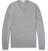 John Smedley Blenheim Melange Merino Wool Sweater Gray