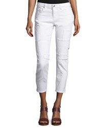 Derek Lam Mila Patchwork Mid Rise Slim Girlfriend Jeans White