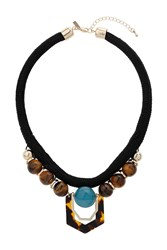 Topshop Tortoise Shell Rope Necklace Brown