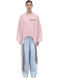 Ambush Oversize Printed Cotton Sweatshirt Pink