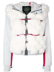 Mr And Mrs Italy Fox Fur Panelled Bomber Jacket Grey