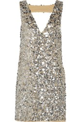 W118 By Walter Baker Carley Sequined Gauze Mini Dress Silver