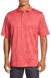 Men's Bugatchi Floral Stripe Short Sleeve Polo Ruby