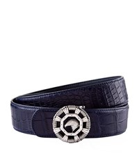 Stefano Ricci Bevel Eagle Buckle Crocodile Belt Unisex Navy